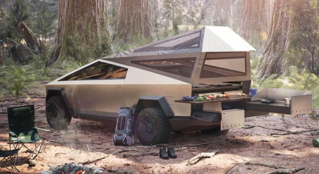 Cybertruck Tesla - piknik w lesie