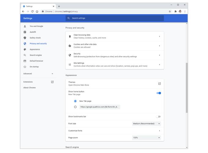 Ustawienia - Chrome (maj 2020)