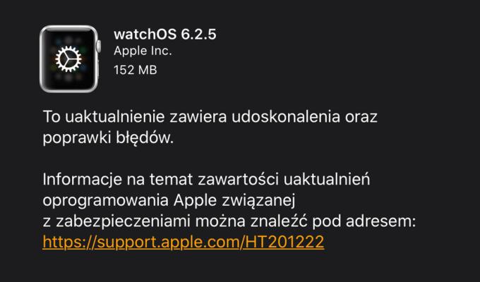 Aktualizacja systemu watchOS 6.2.5 (OTA)