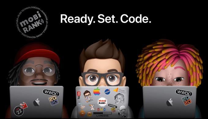 Własna naklejka Memoji na laptopa w stylu WWDC20 Apple'a