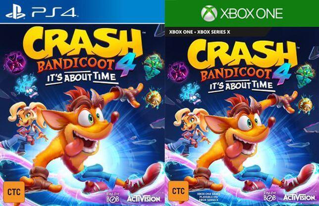 Okładki gry Crash Bandicoot 4: It's About Time  na PS4 i Xboxa (czerwiec 2020)