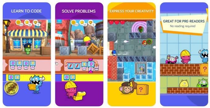 Zrzuty ekranu z aplikacji codeSpark Academy: At Home Kids Coding