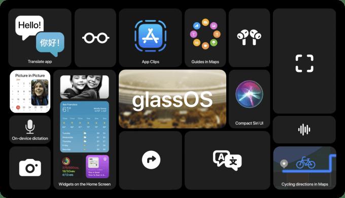 Koncepcja systemu glassOS dla okularów Apple Glasses.
