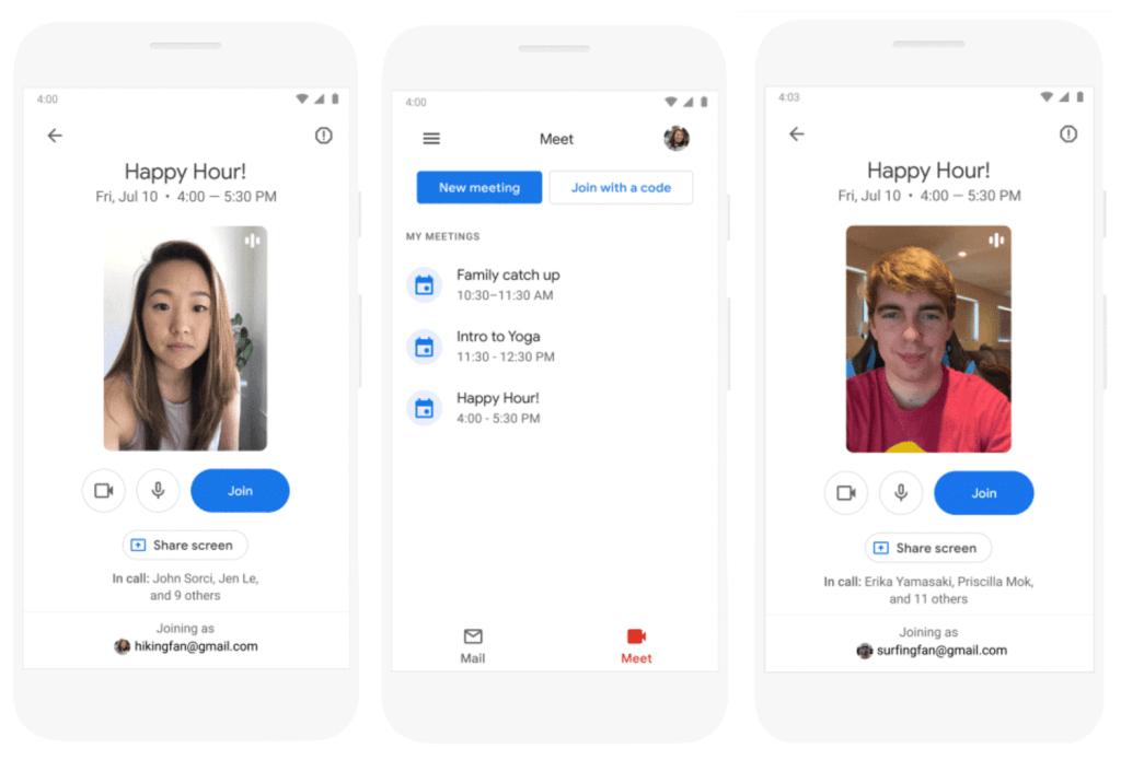Google Meet w aplikacji mobilnej Gmail (screen)