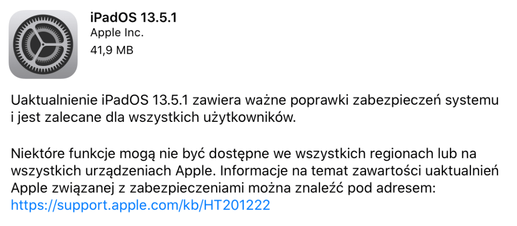 Aktualizacja iPadOS 13.5.1 (OTA