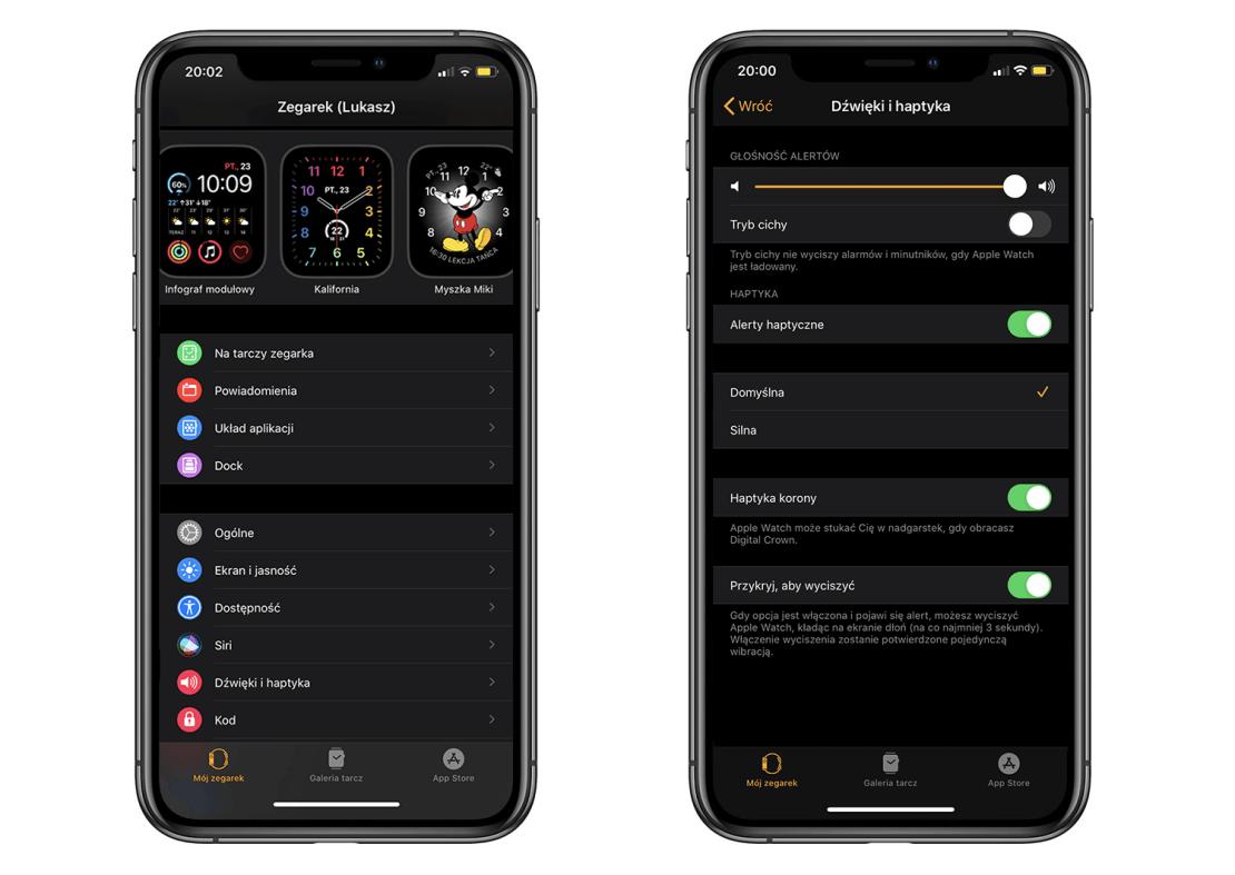 Ustawienia Dźwięki i haptyka Apple Watcha w aplikacji Watch na iPhonie