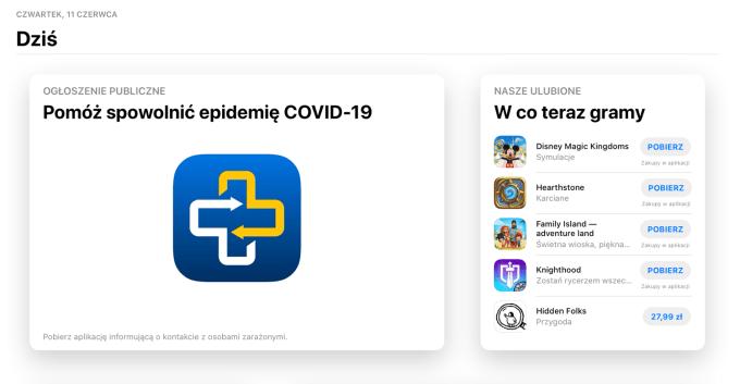 """Widok karty """"Dziś"""" w sklepie App Store (iPadOS/iOS) z ogłoszeniem publicznym o aplikacji ProteGO Safe"""