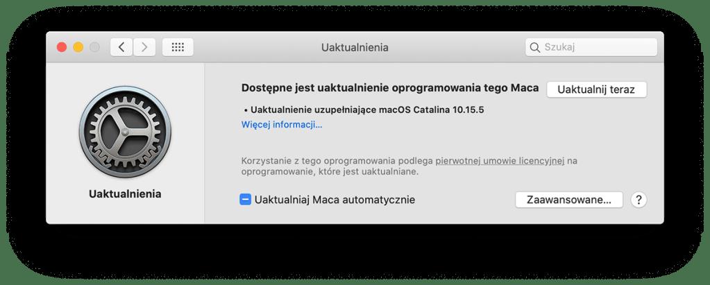 Uaktualnienie uzupełniające macOS Catalina10.15.5 zawiera ważne poprawki zabezpieczeń ijest zalecane dla wszystkich użytkowników.