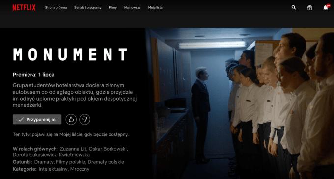 """""""Monument"""" od 1 lipca 2020 r. w serwisie Netflix (2019, reż. Jagoda Szelc)"""