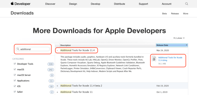 More Downloads for Apple Developers – dditional Tools for Xcode