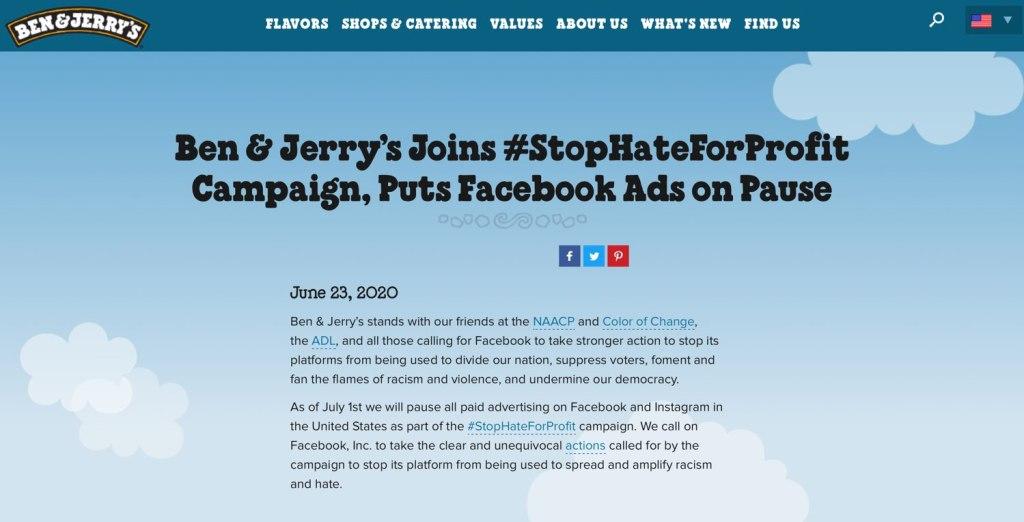 Oświadczenie Ben & Jerry's – dołączenie do kampanii #StopHateForProfit