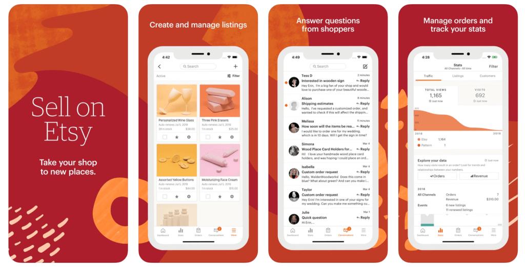 Sell on Etsy - zrzuty ekranu z aplikacji