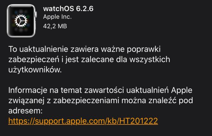 watchOS 6.2.6 w trybie OTA