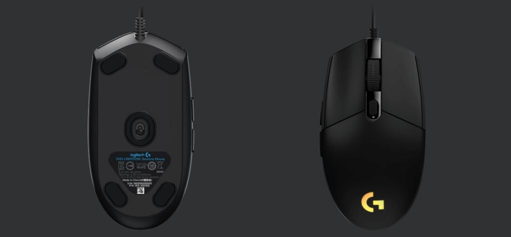 Mysz Logitech G102 LIGHTSYNC Gaming Mouse (czarna, widok z góry i z dołu)