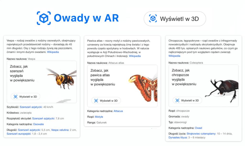 Owady w 3D (AR) w wyszukiwarce Google
