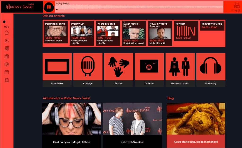 Zrzut ekranu ze strony Radio Nowy Świat (10 lipca 2020 r.)