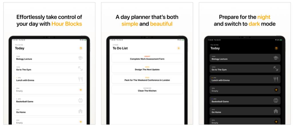 Zrzut ekranu z aplikacji Hour Blocks: Day Planner