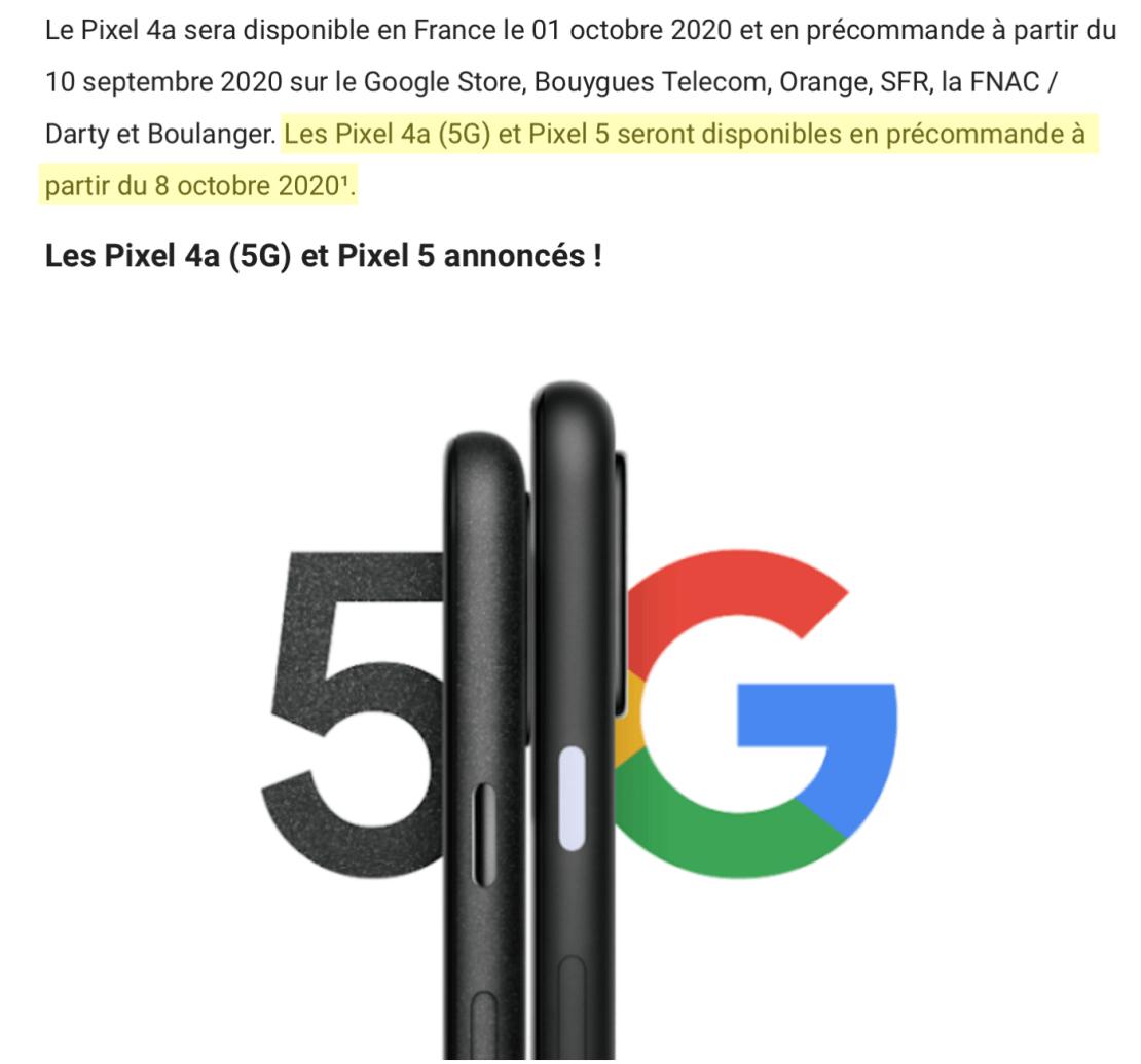 Zrzut ekranu z francuskiego bloga Google'a z datą wydania Pixel 5 i 4a (5G)