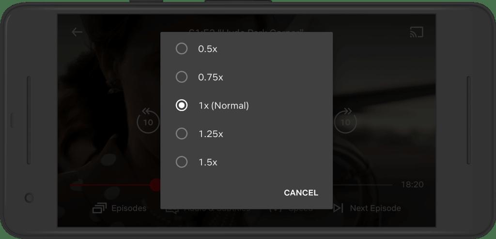 Ustawienie prędkości odtwarzania – Netflix (Android)