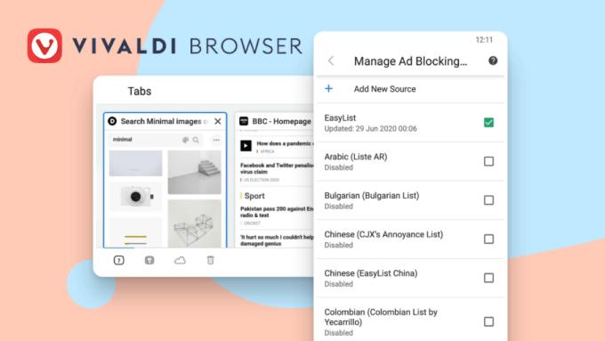 Vivaldi Browser 3.2 na Androida