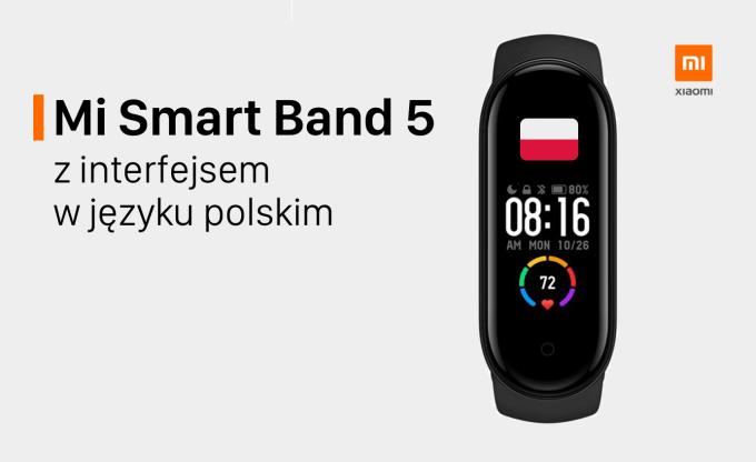 Opaska Xiaomi Mi Smart Band 5 interfejs w języku polskim