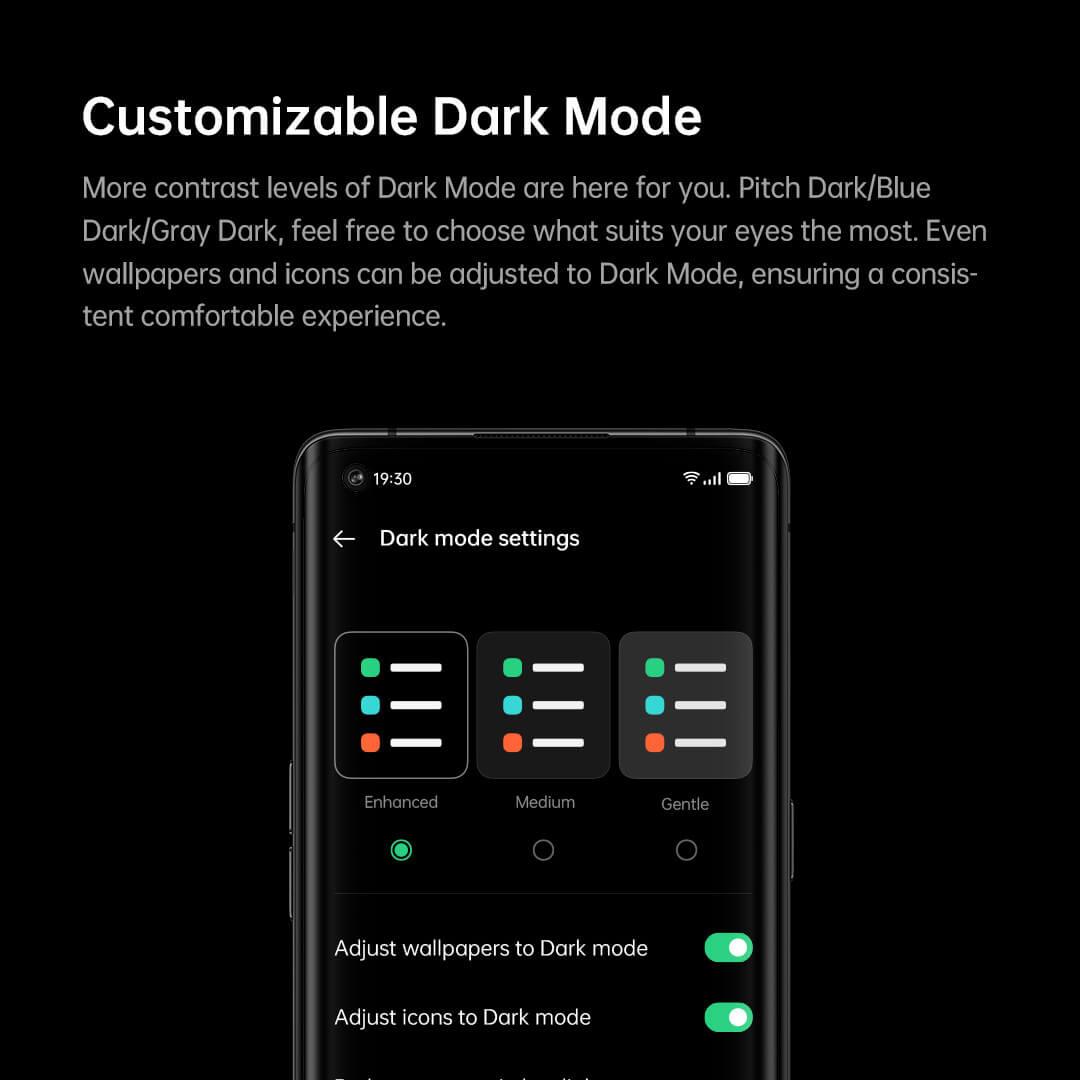ColorOS 11 – dostosowywanie trybu Dark Mode