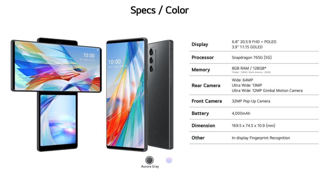 Specyfikacja smartfona LG Wing