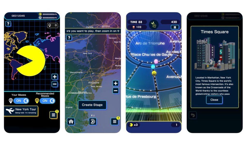 Zrzuty ekranu z gry mobilnej PAC-MAN GEO (Bandai Namco)