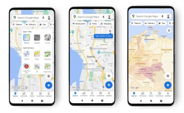 Mapy Google poinformują nas o przypadkach COVID-19