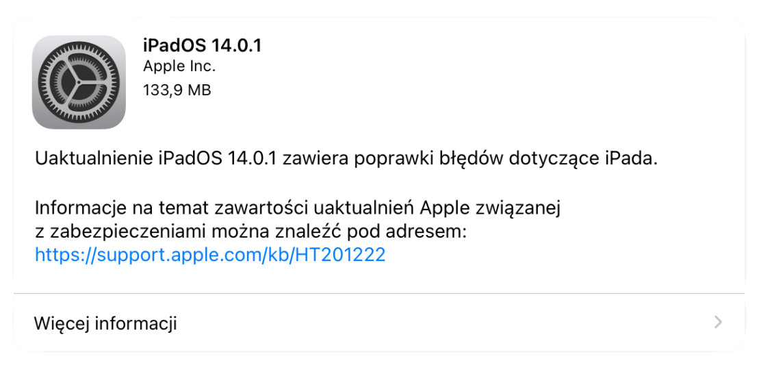 iPadOS 14.0.1 - update info