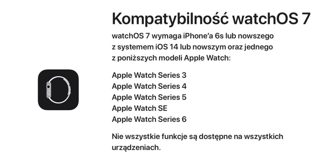 Kompatybilność systemu watchOS 7