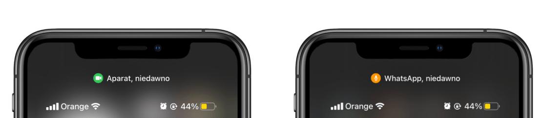 Oznaczenie użycia aparatu lub mikrofonu na iPhonie pod systemem iOS 14