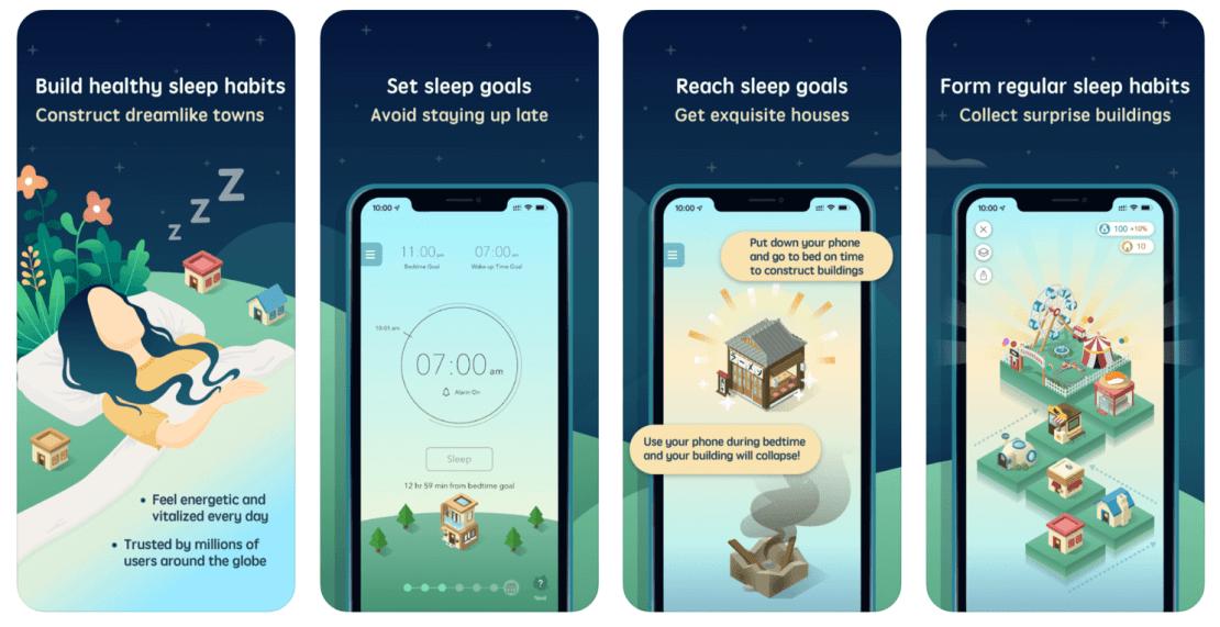Zrzuty ekranu z aplikacji SleepTown