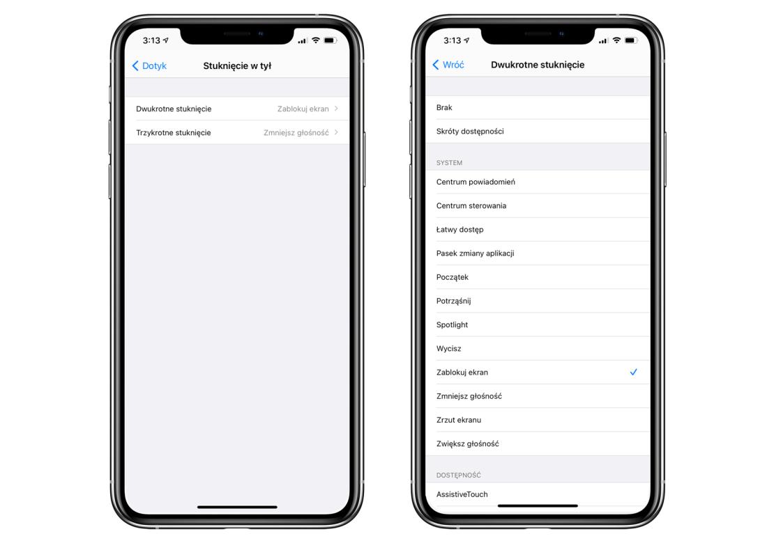 Ustawienie opcji stuknięcia tył iPhone'a pod iOS 14
