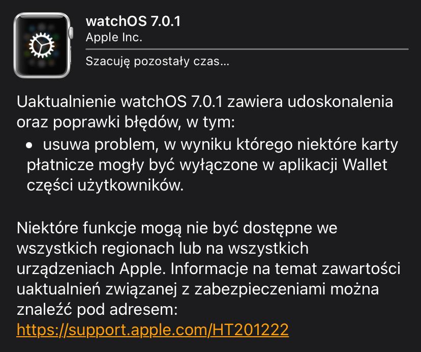 watchOS 7.0.1 - update info