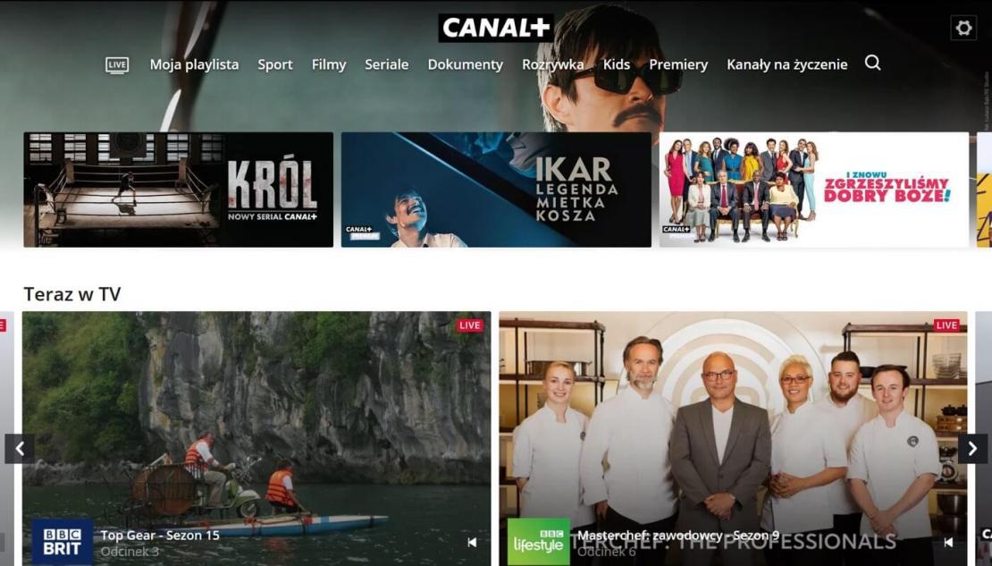 Zrzut ekranu ze strony głównej serwisu CANAL+ – Telewizja przez internet