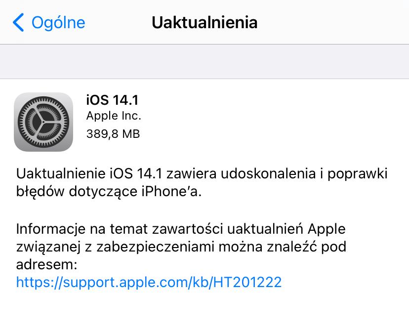 Uaktualnienie iOS 14.1