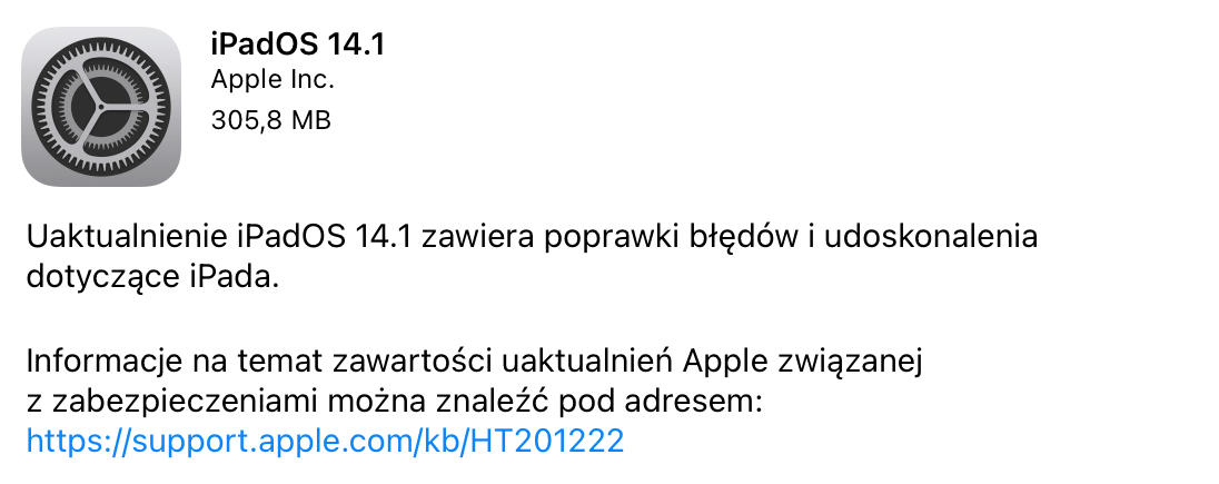 Uaktualnienie iPadOS 14.1