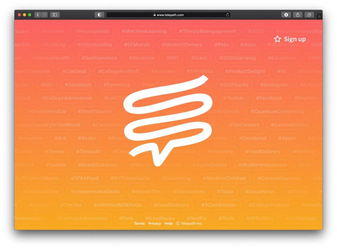 Zrzut ekranu ze strony głównej Telepath.