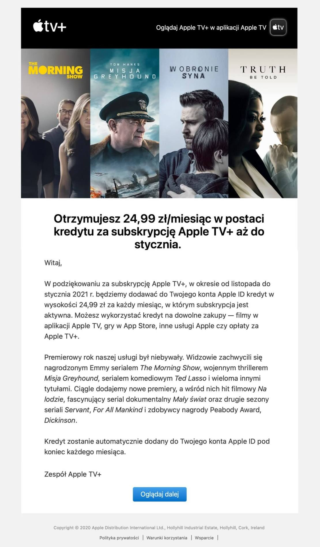 E-mailing Apple TV+ promo PL 2020