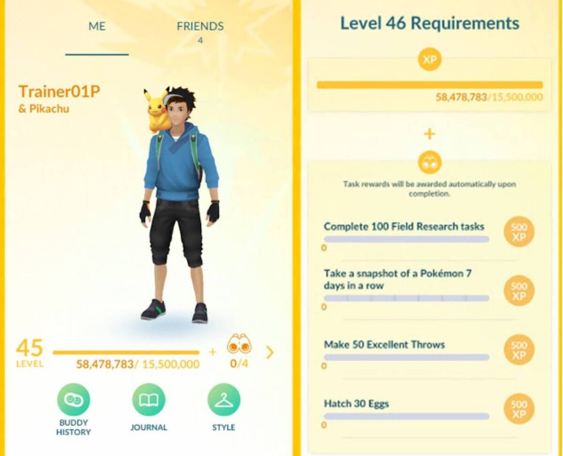 Pokemon GO: wymagania do levelu 46