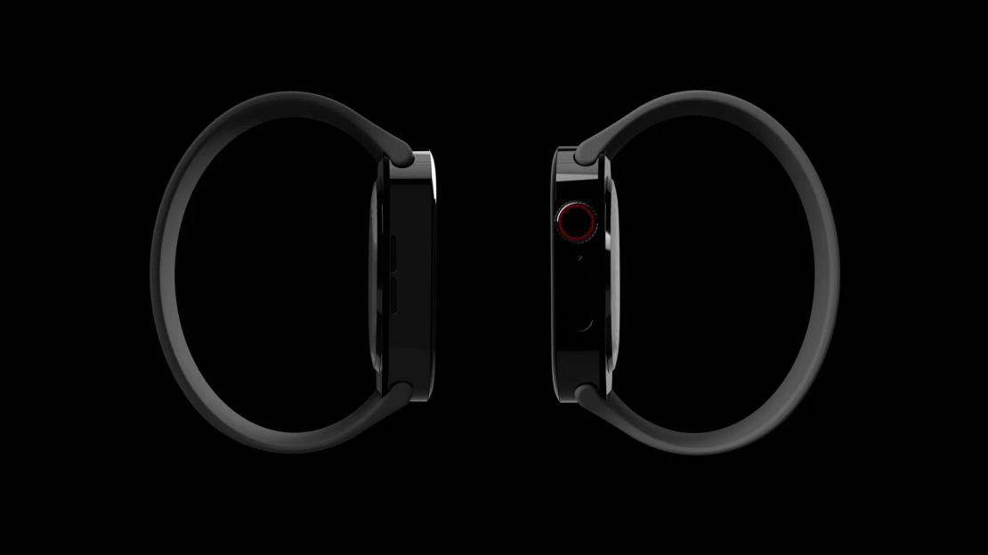 Koncepcja zegarka Apple Watch Series 7 z płaskimi krawędziami