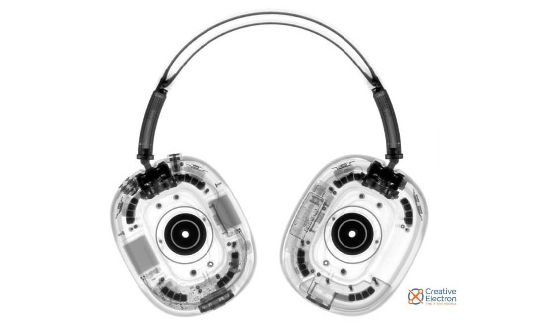 Zdjęcie rentgenowskie słuchawek AirPods Max firmy Apple