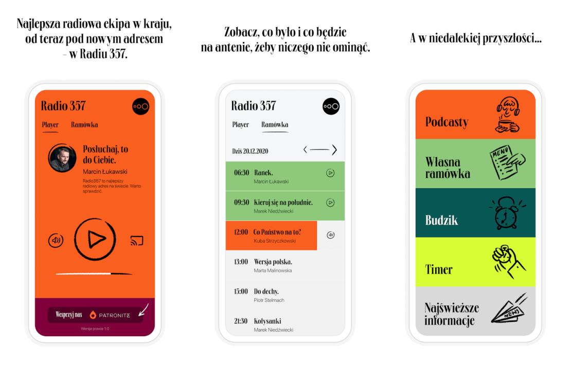 Zrzuty ekranów z aplikacji mobilnej Radio 357