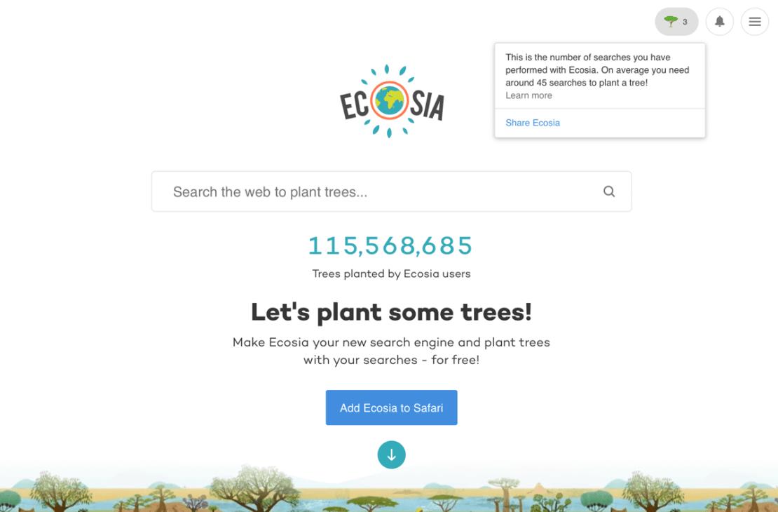 Zrzut ekranu z wyszukiwarki Ecosia (14 grudnia 2020)