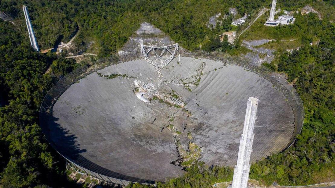 Zniszczone Obserwatorium Arecibo (Portoryko, grudzień 2020 r.)