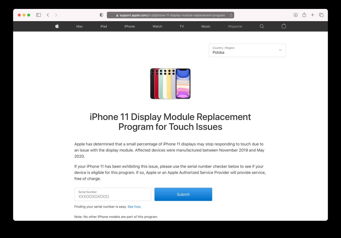 Program wymiany wadliwych ekranów iPhone 11 (niereagujących na dotyk) - grudzień 2020