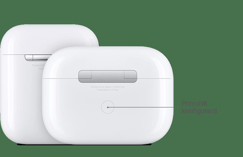 Przycisk konfiguracji w słuchawkach AirPods firmy Apple