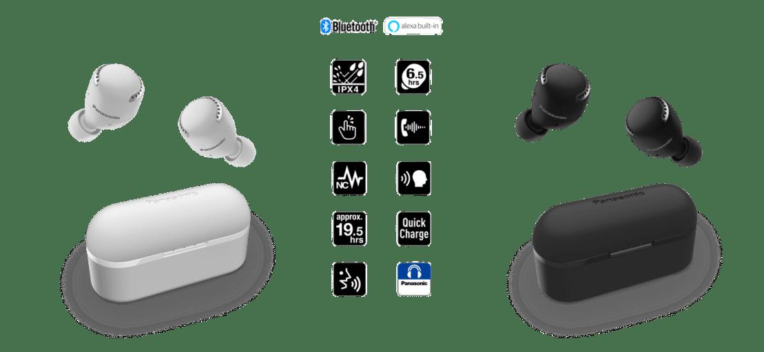 Białe i czarne słuchawki Panasonic RZ-S500W