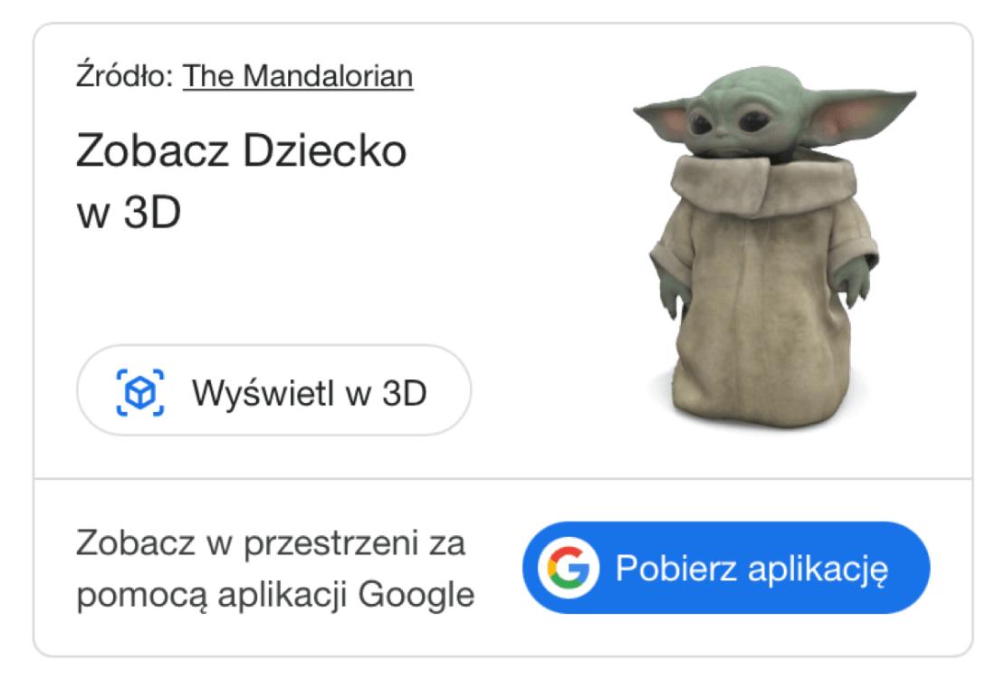 Grogu (Baby Yoda, Dziecko) w 3D w wyszukiwarce Google na smartfony